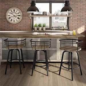 Industrial barstools with wood seats photo