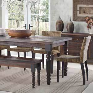 Traditional wood dining table photo