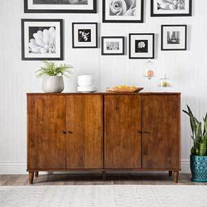 Wood buffet with four cabinets photo