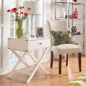 White end table with x-frame base photo