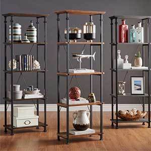 Bookcase with metal frame and wood shelves photo