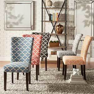 Fabric dining chairs with Moroccan pattern in blue, red, black, gray, and yellow photo