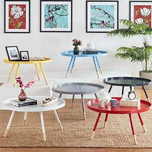 Round tray tables in yellow, blue, white, gray, black, and red photo