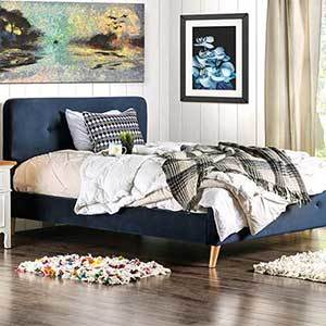 Tufted bed frame with midcentury-modern style photo