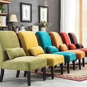 Armless accent chairs in a variety of colors photo