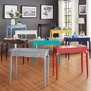Wood accent tables in several different colors photo