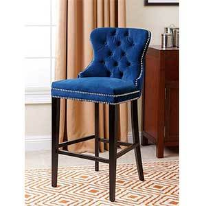 Tufted counter stool in navy blue photo