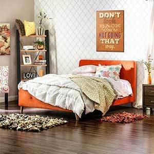 Tufted orange bed for a queen-size mattress photo