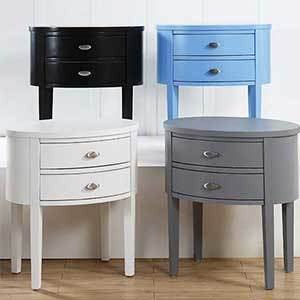 Cval nightstand with two drawers in black, white, gray, and blue photo