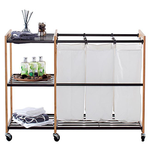 Laundry station with three tall baskets and three wire shelves. photo
