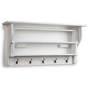 White drying rack with five hooks and three shelves. photo