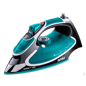 Teal and black steam iron by Eureka. photo