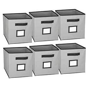 Set of six storage cubes with name slots. photo