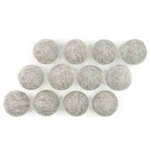 Set of 12 wool dryer balls that reduce drying time. photo