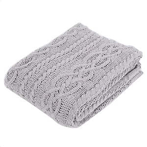 Grey Shibles knitted Chenille throw blanket photo