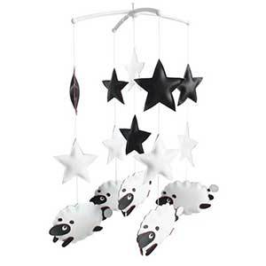 Black and white mobile with stars and sheep photo
