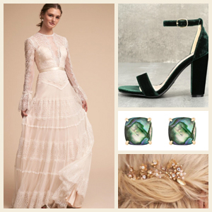 Collage of woman in a wedding dress with heels, earrings, and a hair piece. photo