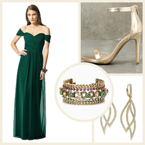 Collage of a woman in a bridesmaid dress and accessories photo