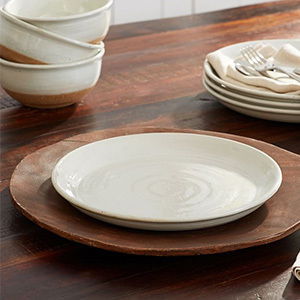 Pottery Barn white and textured dinner plates photo