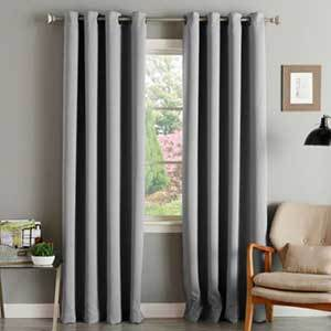 Light gray blackout curtains photo