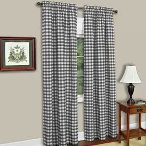 Traditional buffalo check curtains in black and white plaid photo