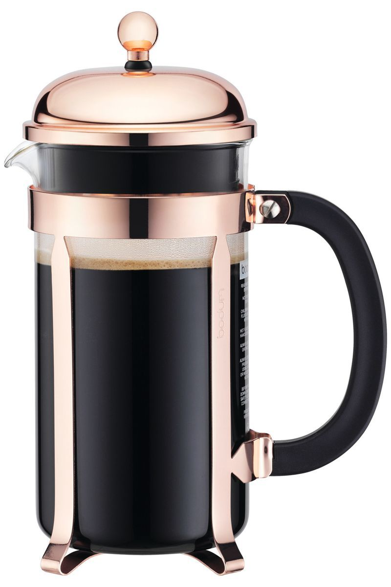 Houzz french press with rose gold lid and frame holder photo