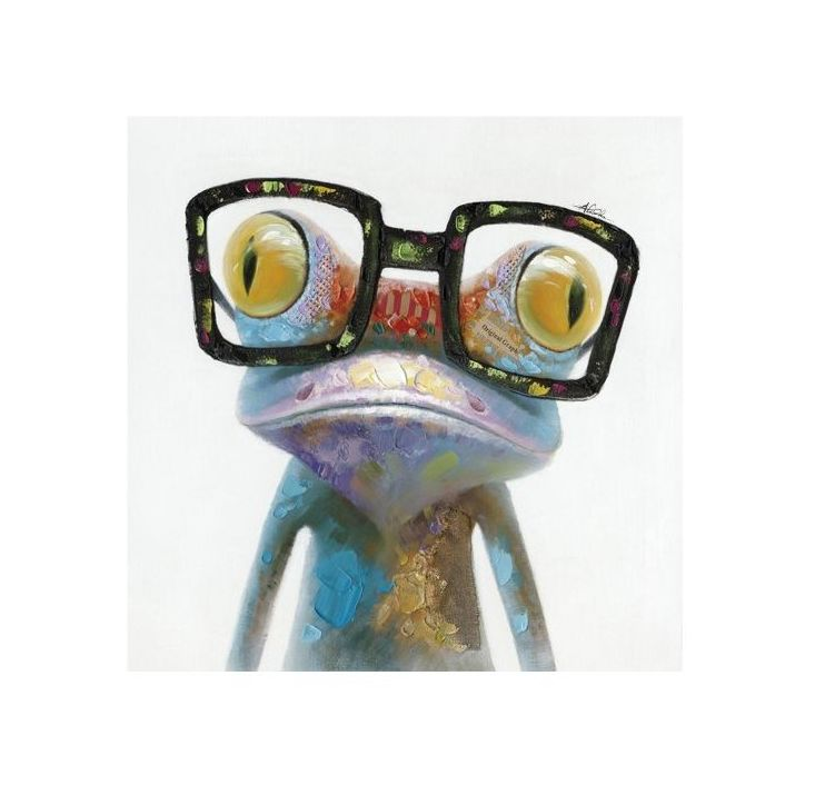Multicolored painting of a frog wearing glasses photo