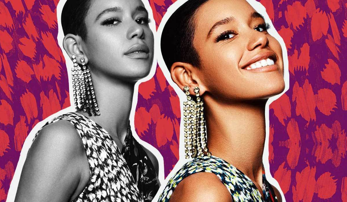 two pictures of a girl with big rhinestone earrings and a purple and red leopard background