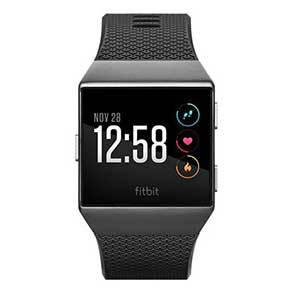 Black Fitbit Iconic with black band and white clock face. photo