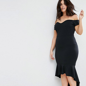 Woman wearing a black off-the-shoulder dress photo