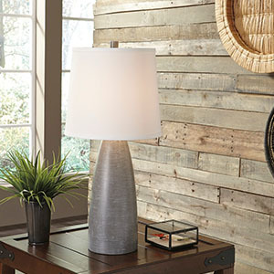 Set of two gray table lamps with three light settings and white lampshades. photo