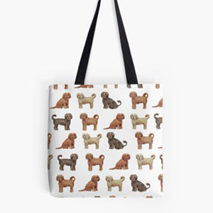 White tote bag with Goldendoodles on it photo