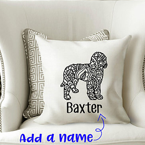 Customizable white pillow with geometric Goldendoodle design. photo