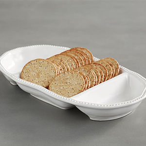 Pottery Barn serving bowl with three sections photo
