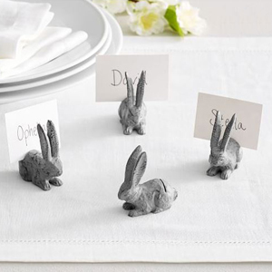 four bunny place card holders on a table photo