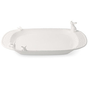 White platter with bunnies on the edges from Williams Sonoma photo