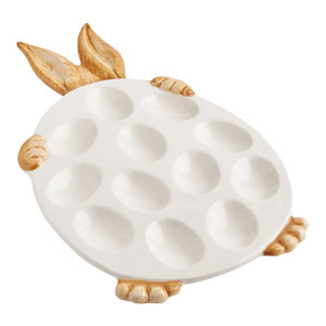 Deviled egg platter with bunny ears and paws hugging the edge from Pier1 photo