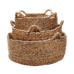 Set of three woven baskets photo
