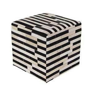 The Home Depot black and white pouf photo
