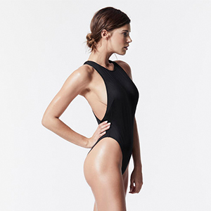 Black One-Piece Swimsuit with High Cut photo