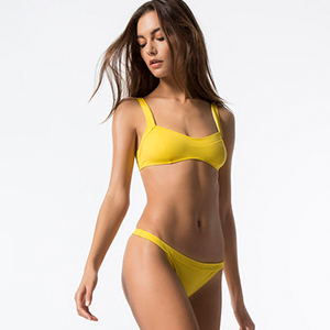 Yellow Two-Piece Swimsuit with Thick Straps photo