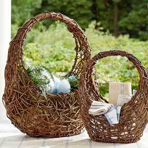 Pottery Barn oval handwoven baskets made from natural vines. photo