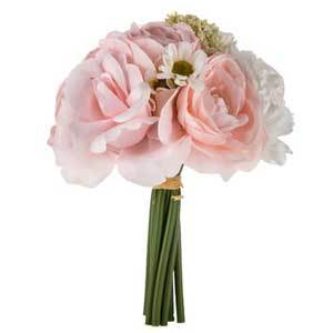 Bouquet of pink and white roses, peonies, and ranunculus with green bendable stems. photo