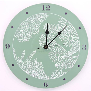 sage green clock with purple numbers and white floral clock face from Etsy photo