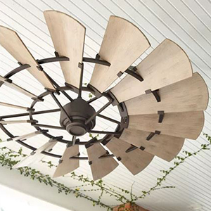 Large ceiling fan with multiple wood panels photo