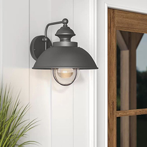 Gray bowl-shaped wall sconce with a round bulb photo