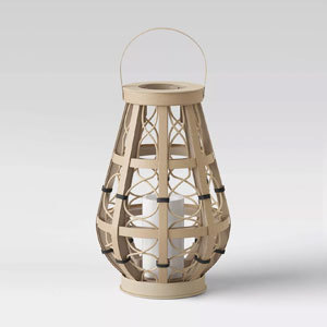 Woven lantern with a candle from Target photo