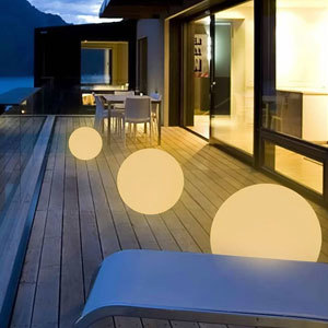Three floating lights on a patio from Wayfair photo