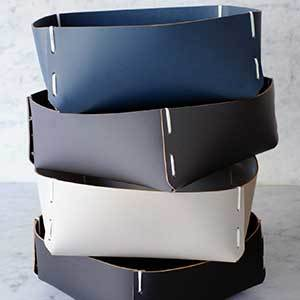 Stack of 4 Leather Square Baskets photo