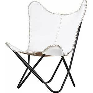 Leather Butterfly Lounge Chair in white photo
